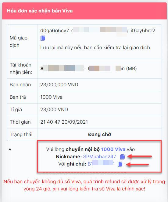 Chi tiết đơn hàng bán Viva